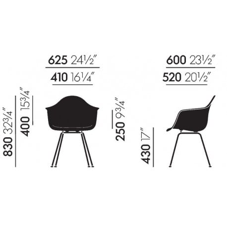dimensions Eames DAX without upholstery - vitra - Charles & Ray Eames - Home - Furniture by Designcollectors