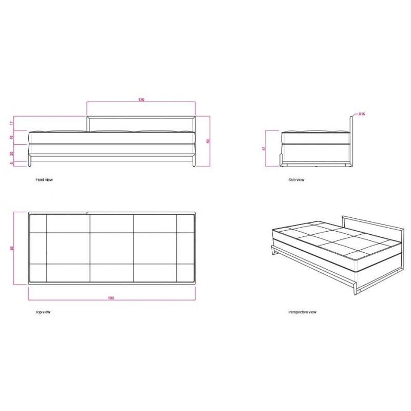 afmetingen Day Bed Bedbank - Classicon - Eileen Gray - Sofa's en slaapbanken - Furniture by Designcollectors