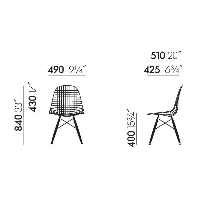 dimensions DKW Wire Chair - vitra - Charles & Ray Eames - Home - Furniture by Designcollectors
