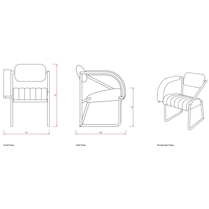 dimensions Non Conformist Armchair - Classicon - Eileen Gray - Chairs - Furniture by Designcollectors