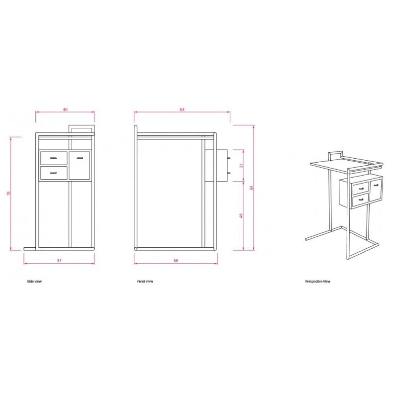 afmetingen Petite Coiffeuse Kaptafel - Classicon - Eileen Gray - Home - Furniture by Designcollectors