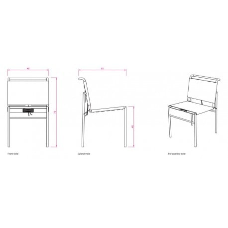 dimensions Roquebrune Chair - Classicon - Eileen Gray - Dining Chairs - Furniture by Designcollectors