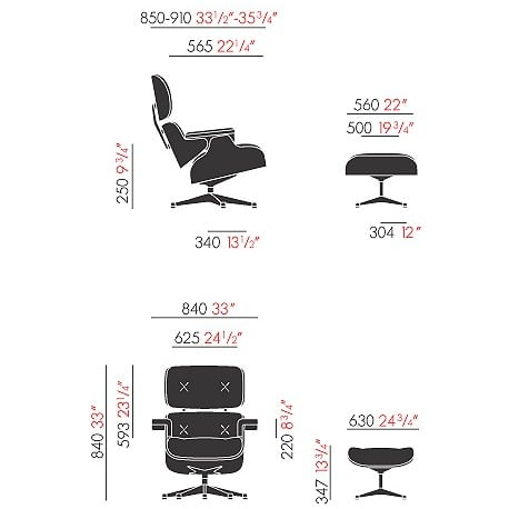 dimensions White Lounge Chair & Ottoman - vitra - Charles & Ray Eames - Arm & Lounge Chairs - Furniture by Designcollectors