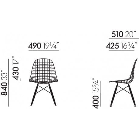 dimensions DKW-2 Wire Chair - vitra - Charles & Ray Eames - Home - Furniture by Designcollectors