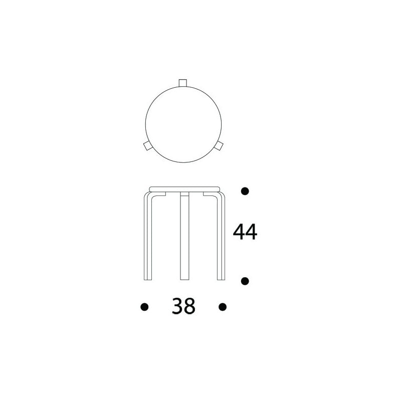 dimensions 60 Stool Re-interpretation by Hella Jongerius - Honey Stained - artek -  - Home - Furniture by Designcollectors