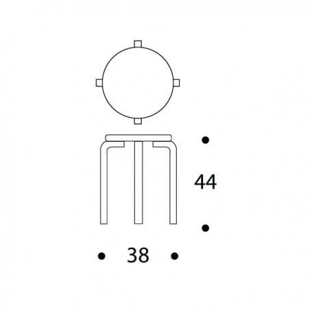 dimensions E60 Stool 4 Legs Natural Lacquered - artek - Alvar Aalto - Back to school - Furniture by Designcollectors