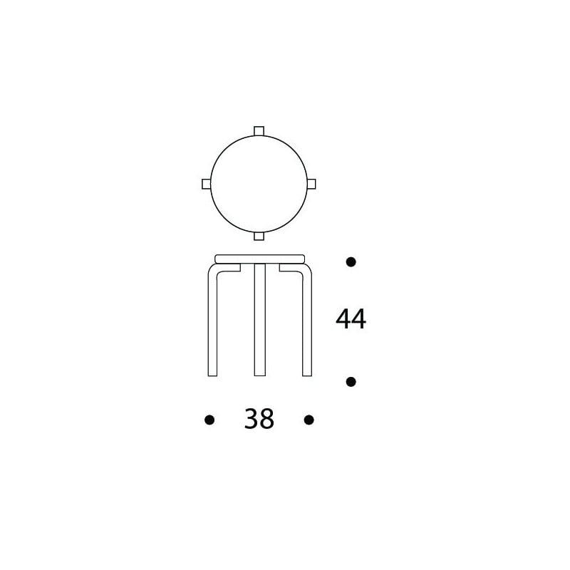 dimensions Stool E60 Tabouret 4 pieds Laqué naturel - artek - Alvar Aalto - Accueil - Furniture by Designcollectors