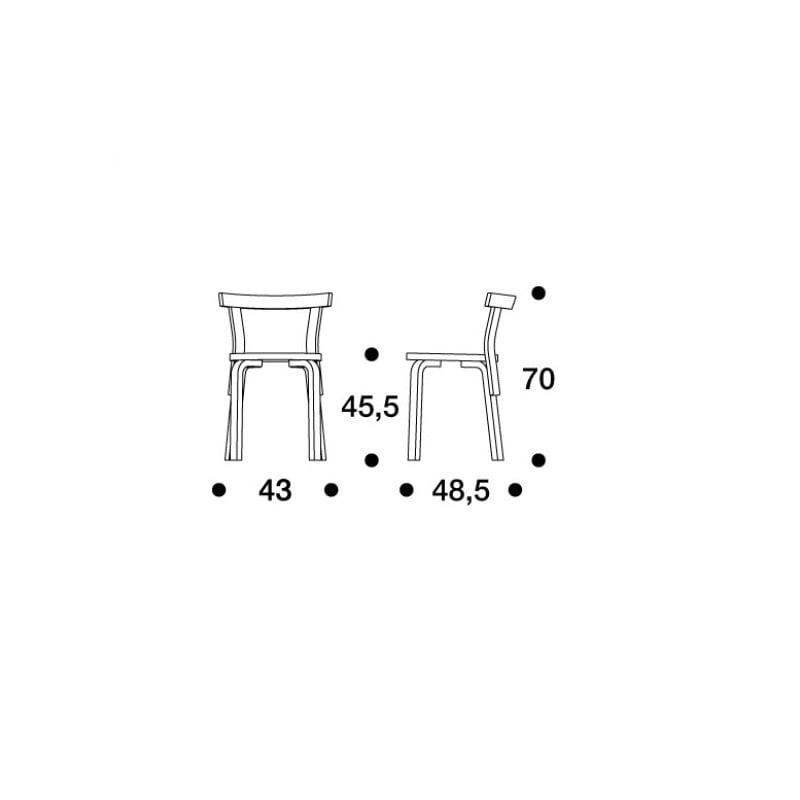 dimensions 68 Chair - artek - Alvar Aalto - Aalto korting 10% - Furniture by Designcollectors