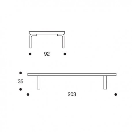 dimensions 710 Day bed frame - artek - Alvar Aalto - Sofas & Daybeds - Furniture by Designcollectors