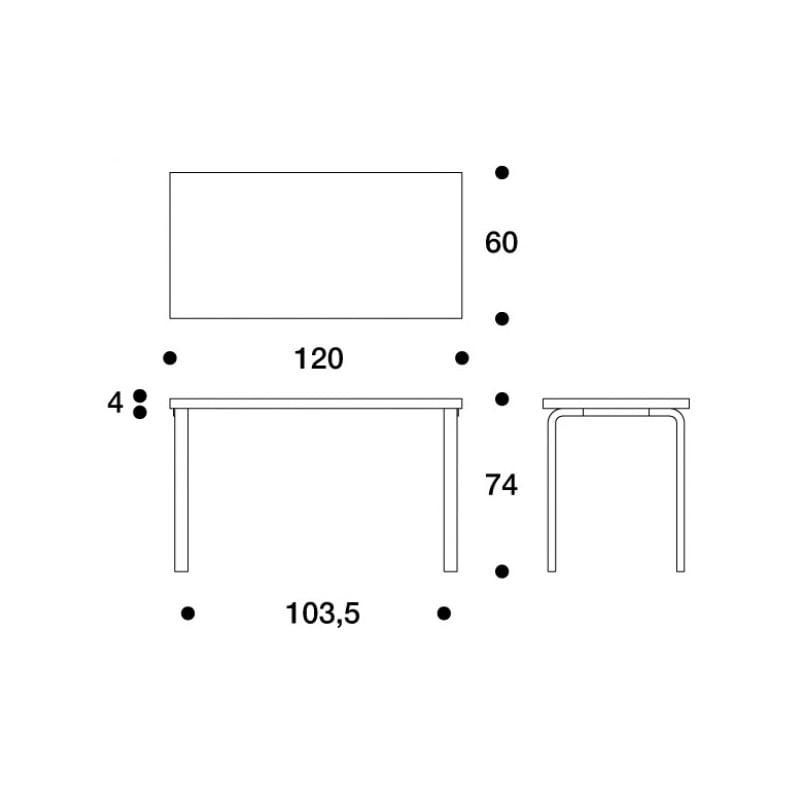 afmetingen Table 80A Tafel - artek - Alvar Aalto - Tafels - Furniture by Designcollectors