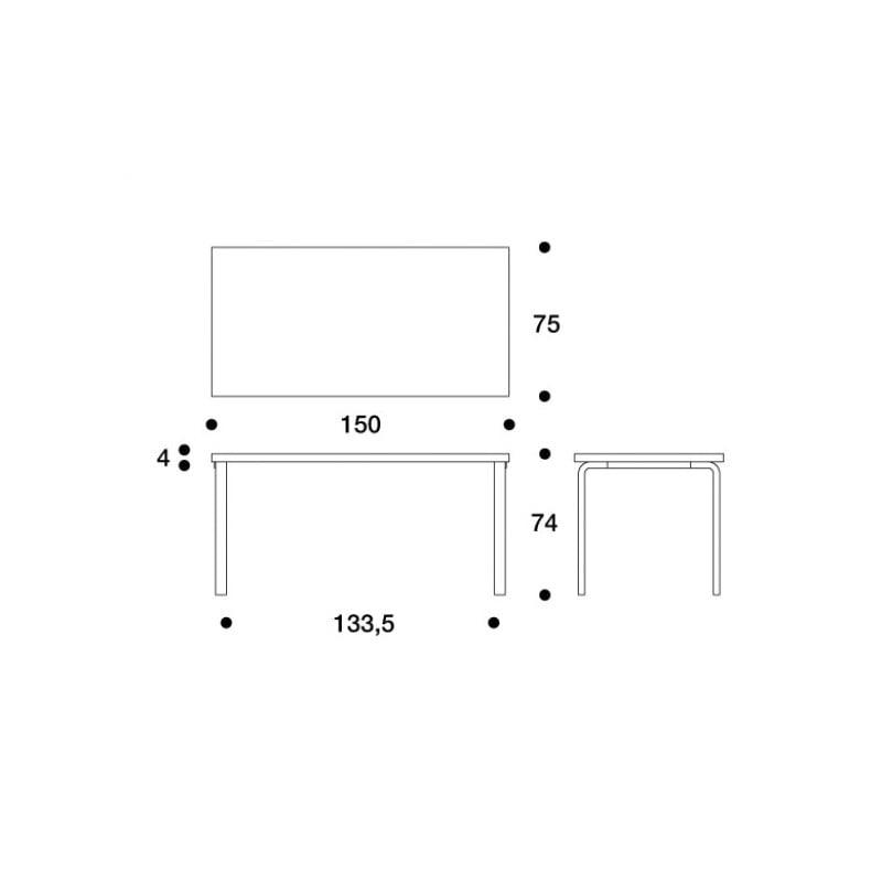 dimensions 81A Table - artek - Alvar Aalto - Tables - Furniture by Designcollectors