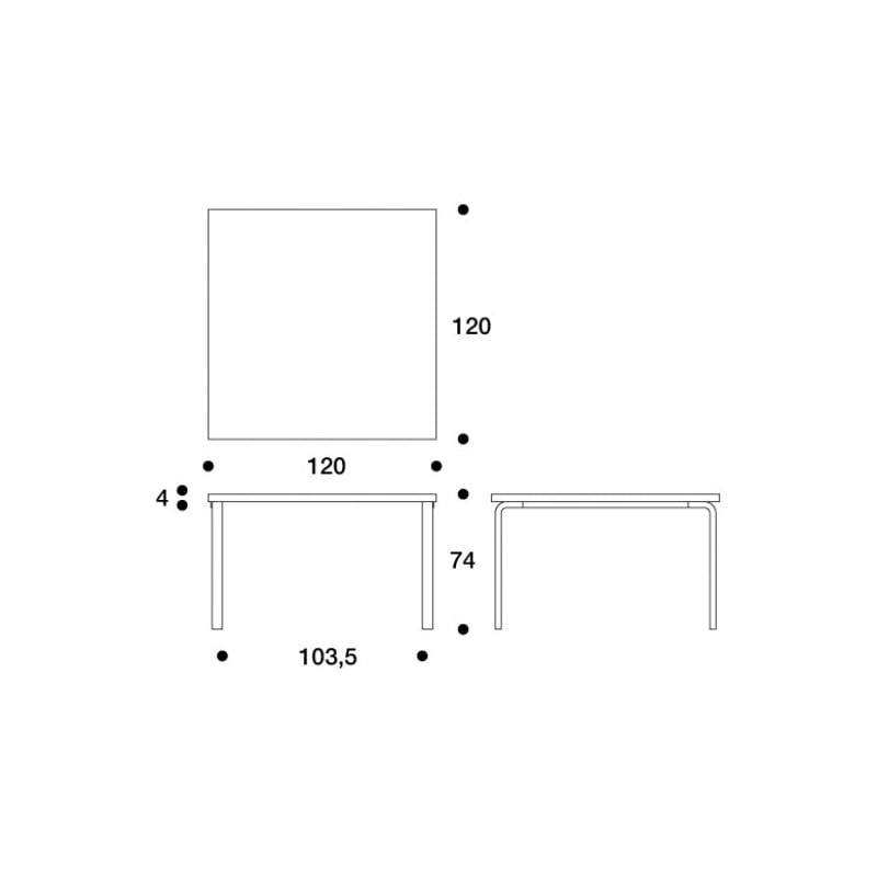 dimensions 84 Table - artek - Alvar Aalto -  - Furniture by Designcollectors