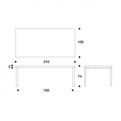 dimensions 86 Table - artek - Alvar Aalto -  - Furniture by Designcollectors