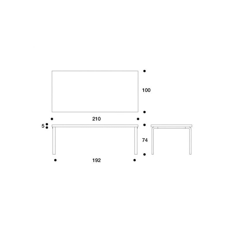 dimensions 86 Table - artek - Alvar Aalto - Home - Furniture by Designcollectors