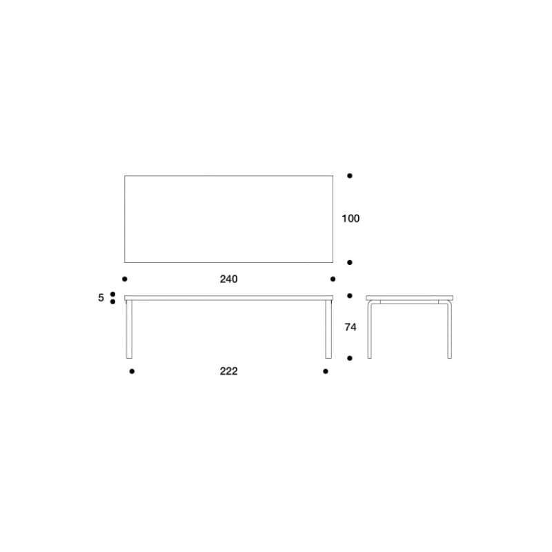 dimensions 86A Table - artek - Alvar Aalto - Home - Furniture by Designcollectors