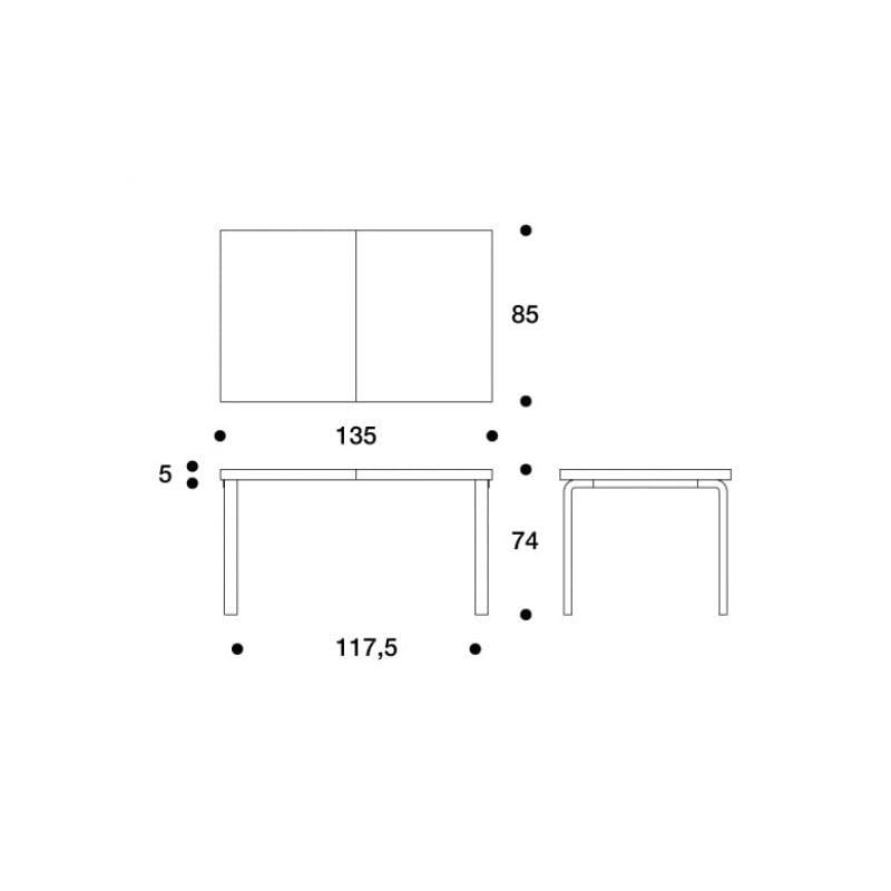 dimensions 97 Extension Table - artek - Alvar Aalto - Home - Furniture by Designcollectors