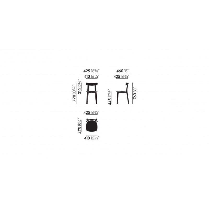 dimensions All Plastic Chair - vitra - Jasper Morrison - Home - Furniture by Designcollectors