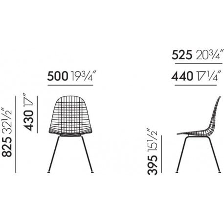 dimensions Wire Chair DKX - vitra - Charles & Ray Eames - Chairs - Furniture by Designcollectors