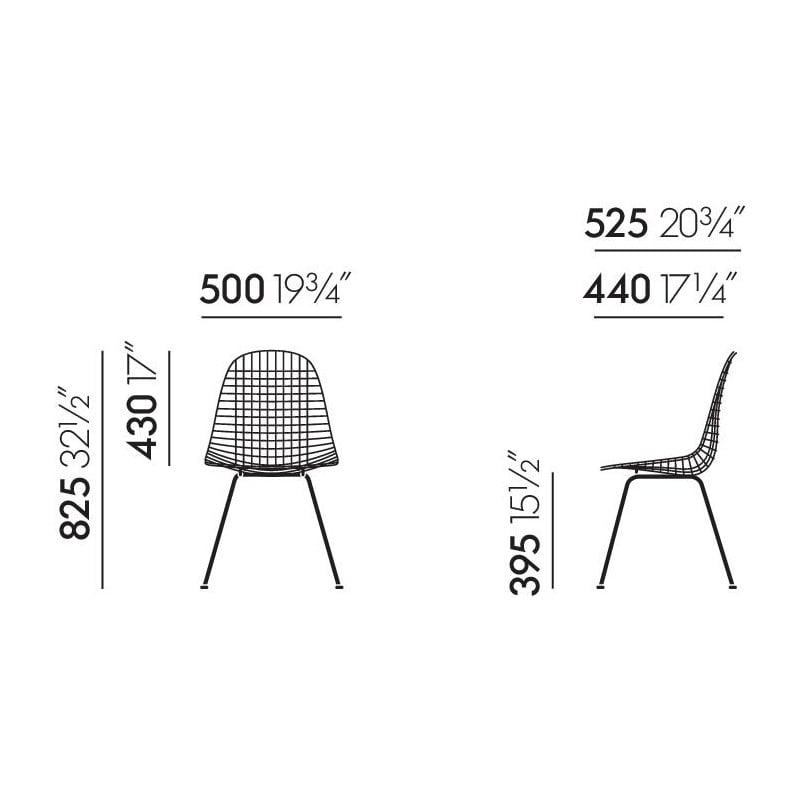 dimensions Wire Chair DKX - vitra - Charles & Ray Eames - Home - Furniture by Designcollectors