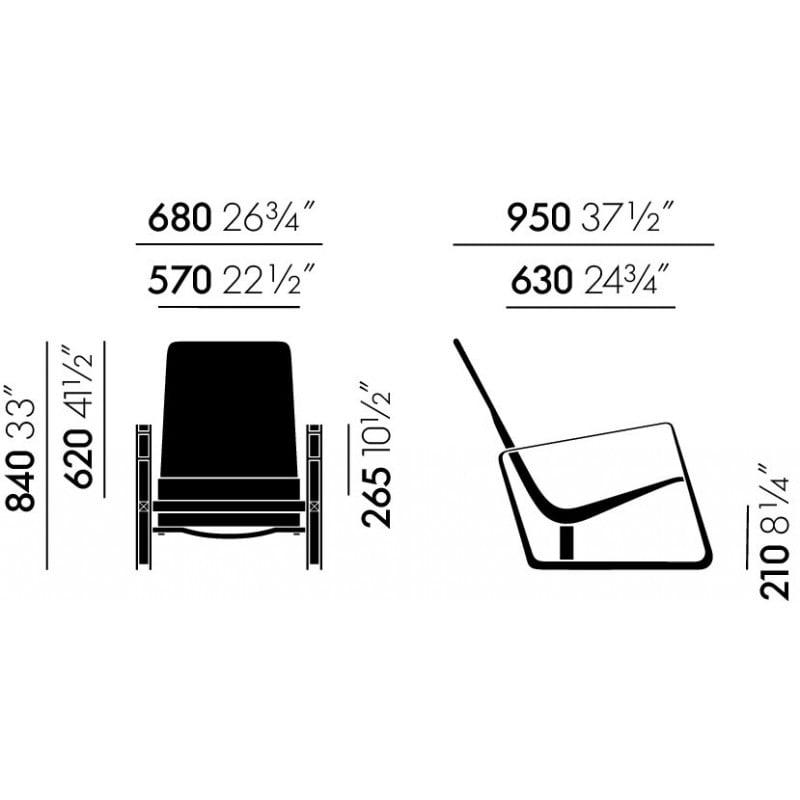 dimensions Cité Armchair -  - Jean Prouvé - Arm & Lounge Chairs - Furniture by Designcollectors