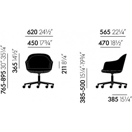 dimensions Softshell Chair (5-Star Feet) - vitra - Ronan and Erwan Bouroullec - Office Chairs - Furniture by Designcollectors
