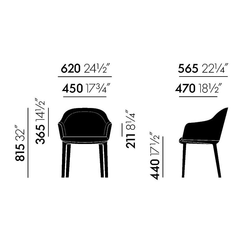 dimensions Softshell Chair (4 Feet) - vitra - Ronan and Erwan Bouroullec - Chairs - Furniture by Designcollectors