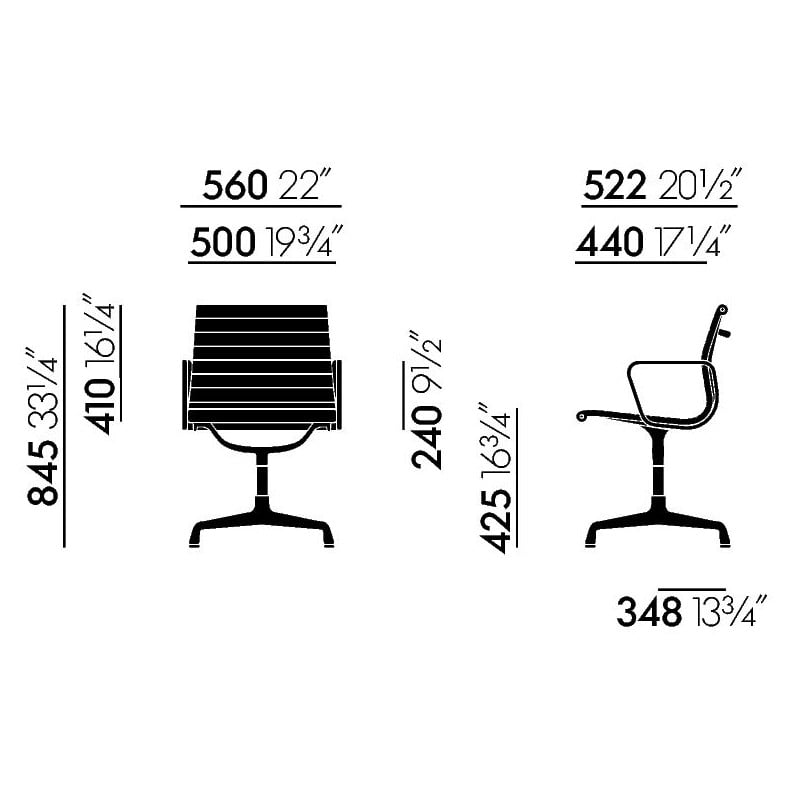 dimensions Alu Chair EA 104 - vitra - Charles & Ray Eames - Chairs - Furniture by Designcollectors