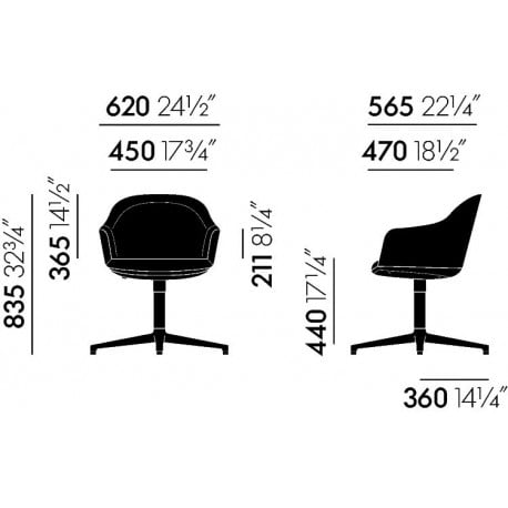 dimensions Softshell Chair (4-Star Feet) - vitra - Ronan and Erwan Bouroullec - Chairs - Furniture by Designcollectors