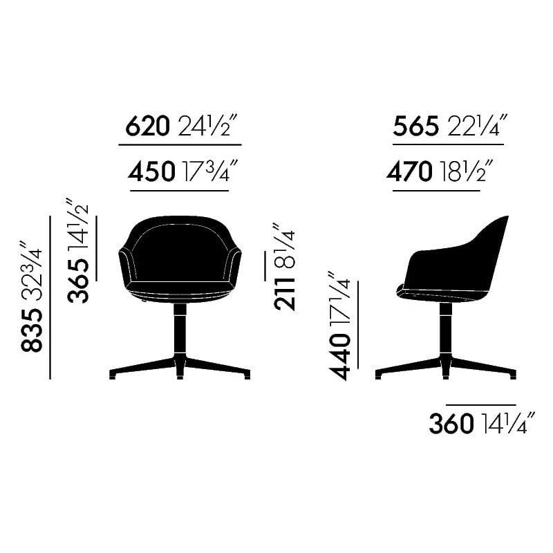 afmetingen Softshell Chair Stoel 4-steronderstel - vitra - Ronan and Erwan Bouroullec - Stoelen - Furniture by Designcollectors