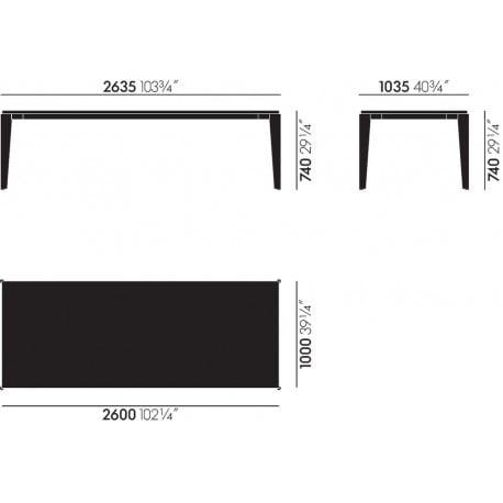dimensions Prouvé RAW Table Flavigny - vitra - Jean Prouvé - Tables - Furniture by Designcollectors