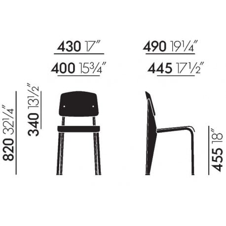 dimensions Prouvé RAW Standard SR Chair - vitra - Jean Prouvé - Chairs - Furniture by Designcollectors