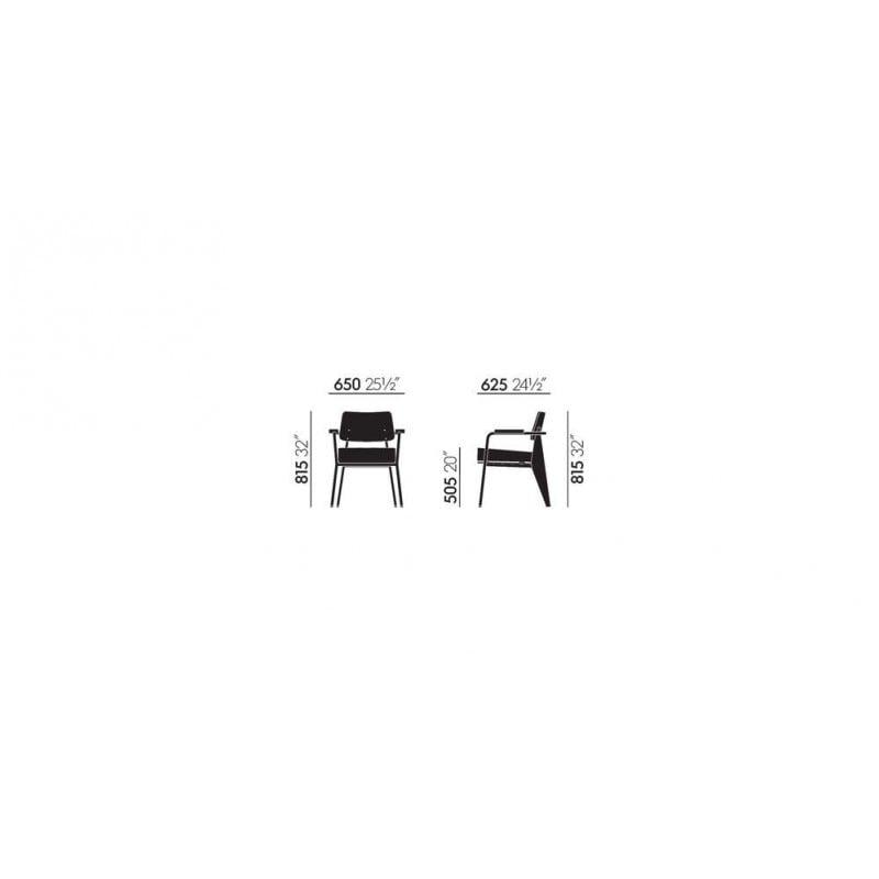 afmetingen Fauteuil Direction - vitra - Jean Prouvé - Stoelen - Furniture by Designcollectors