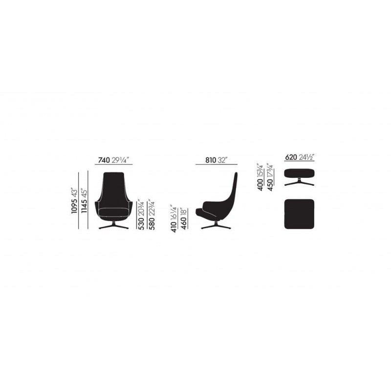 afmetingen Repos - vitra - Antonio Citterio - Stoelen - Furniture by Designcollectors