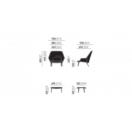 dimensions Slow Chair - Vitra - Ronan and Erwan Bouroullec - Arm & Lounge Chairs - Furniture by Designcollectors