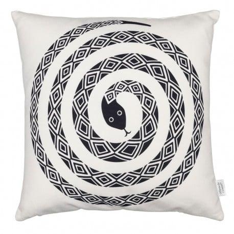 Graphic Print Pillow: Snake, black - Vitra - Alexander Girard - Textiles - Furniture by Designcollectors
