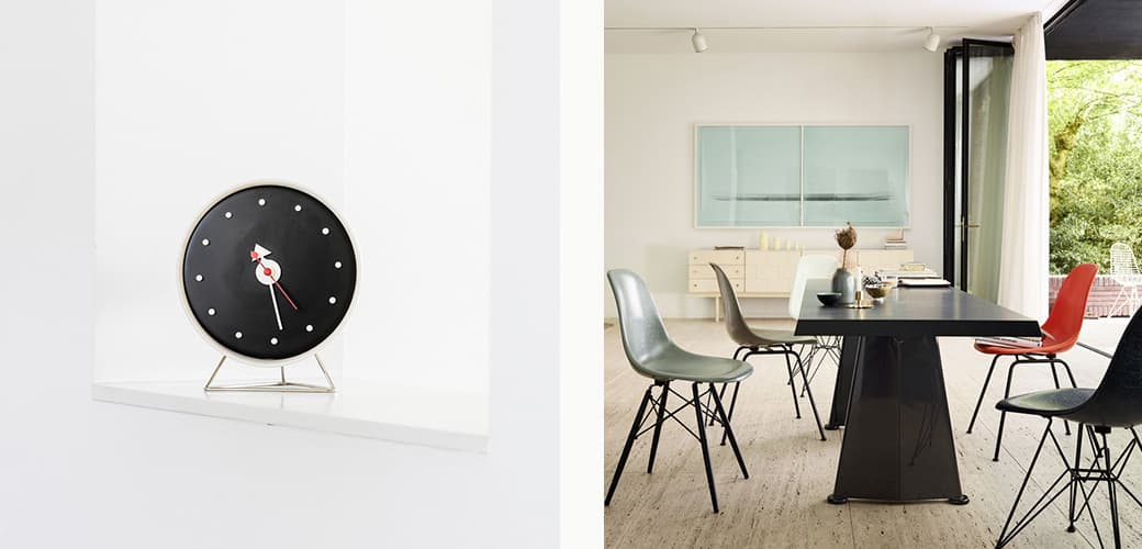 Eames Fiberglass Chairs: DSX, Wire Chair DKR and Cone Clock by Vitra