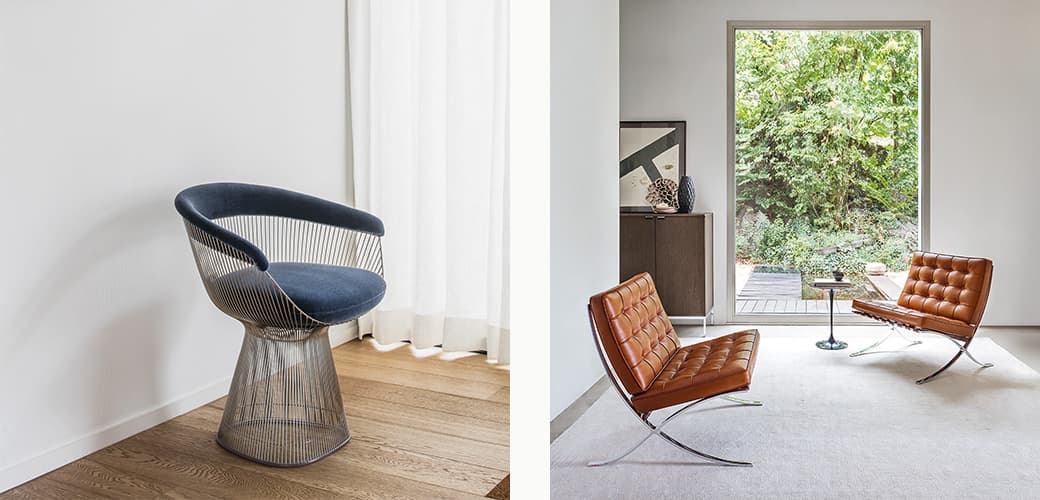 Tabouret Solvay and Nelson Bench L by Vitra, and A810 Floor Lamp by Artek