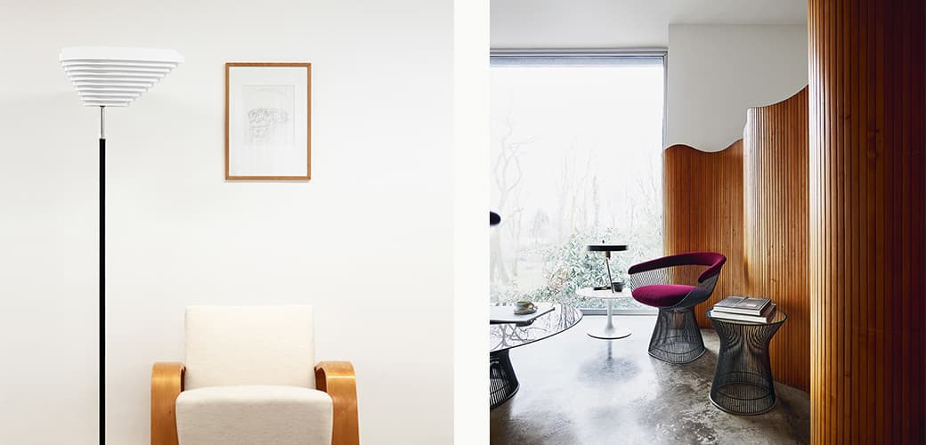 Platner Side Chair, Platner Coffee Table and Platner Side table by Knoll, and A805 Floor Lamp by Artek