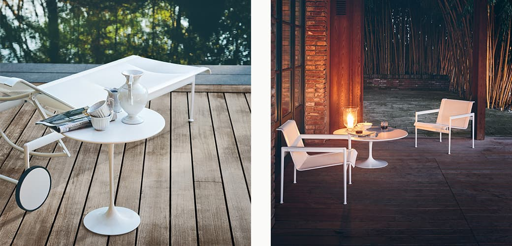 Schultz Adjustable Chaise Lounge Outdoor, Schultz Lounge Chair with arms, Saarinen Low Round Table H51 D51 and H36 D51 by Knoll