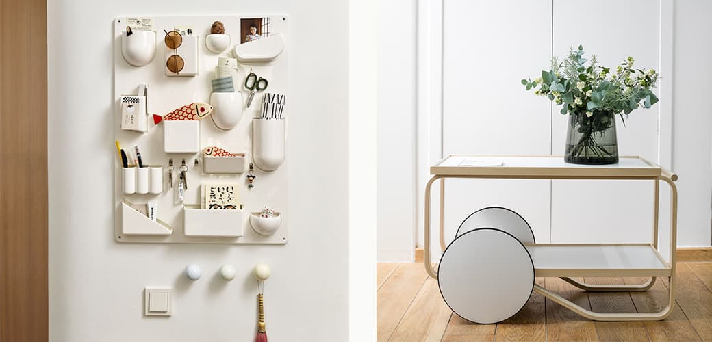 Uten.Silo 2, Coat Dots, 1 set of 3 white, and Wooden Doll: Mother Fish & Child by Vitra and 901 Tea Trolley by Artek