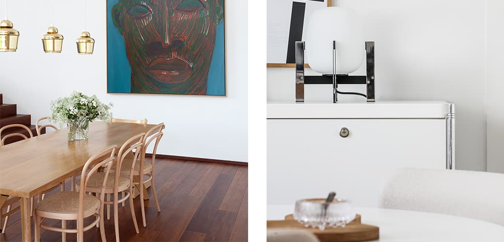 Rotary Tray and Table Solvay by Vitra, 214 Chair by Thonet, Alvar Aalto Collection Vase 160 mm Clear by Iitalla, A330 Ceiling Lamp and REB 009 Kaari high shelf by Artek