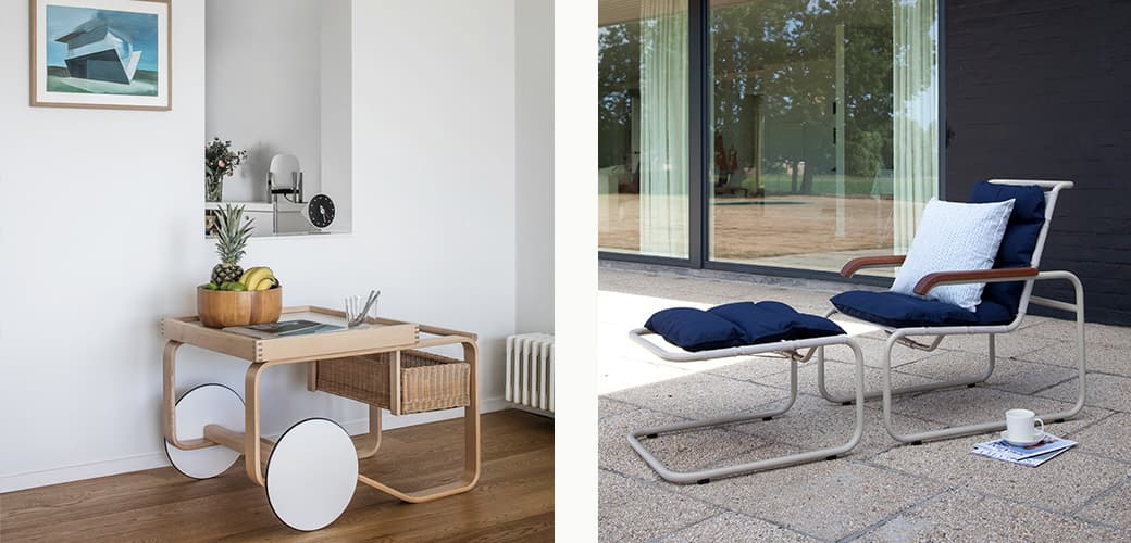 900 Tea Trolley by Artek, S 35 N Chair All Seasons and S 35 NH Hocker All Seasons by Thonet, and Rivi Cushion Cover by Artek