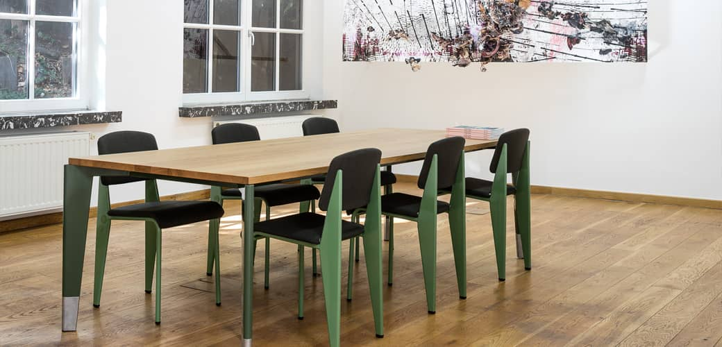 Prouvé RAW Table Flavigny and Prouvé RAW Standard SR Chair by Vitra
